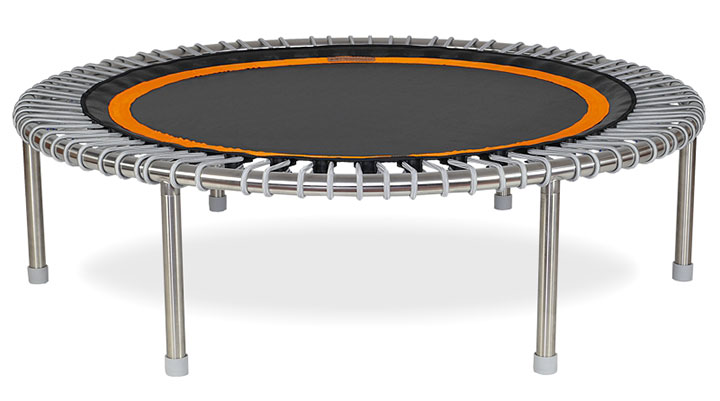 a bellicon® Premium mini trampoline, black orange mat and silver bungees