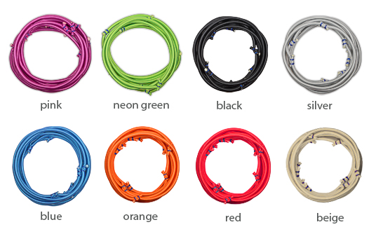 Pictures of the bellicon bungee colours orange, neon green, pink, blue, black, silver and beige