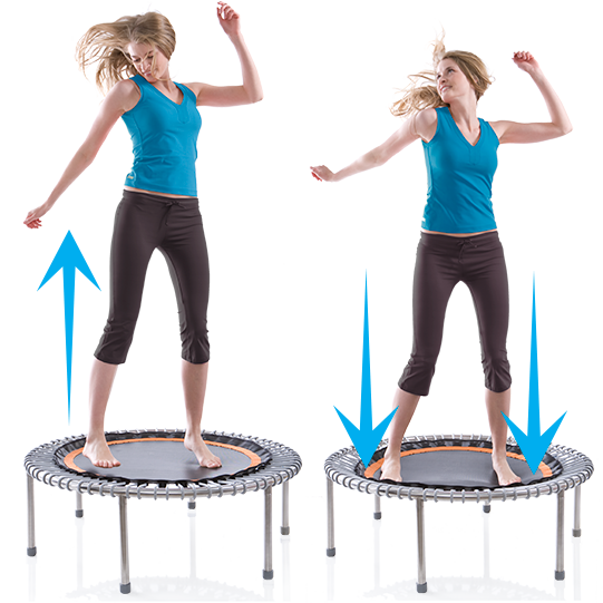 a woman exercising on a bellicon® mini trampoline