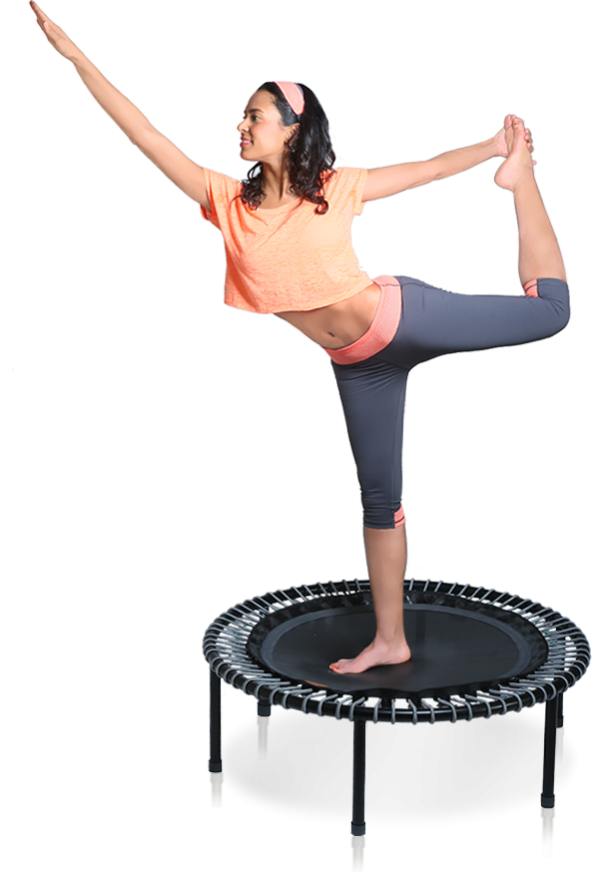 a woman on a bellicon® mini trampoline training her sense of balance