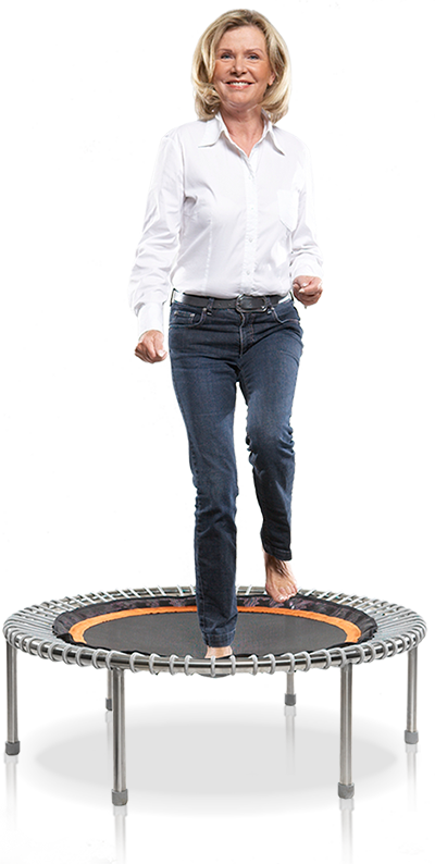 An older woman exercising bellicon® mini trampoline