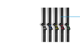 A picture of five black bungee rings in different rebound strengths depicted by thei colourful clips