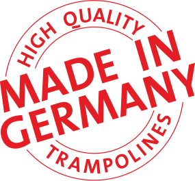 A picture depicting a stamp for made in Germany, high quality trampolines