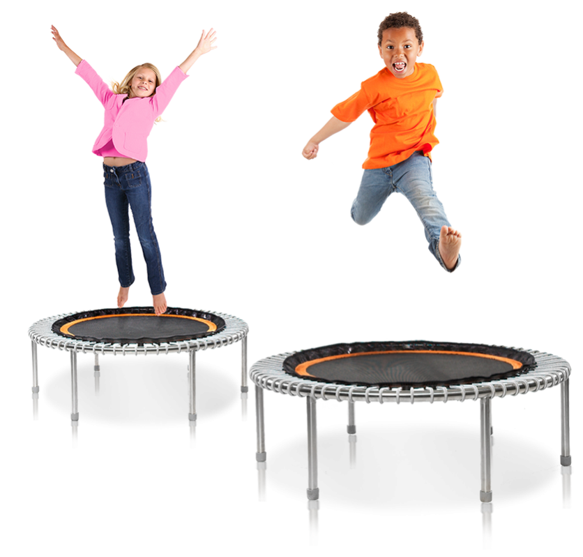 A boy and a girl having fun jumping on two bellicon® mini trampolines