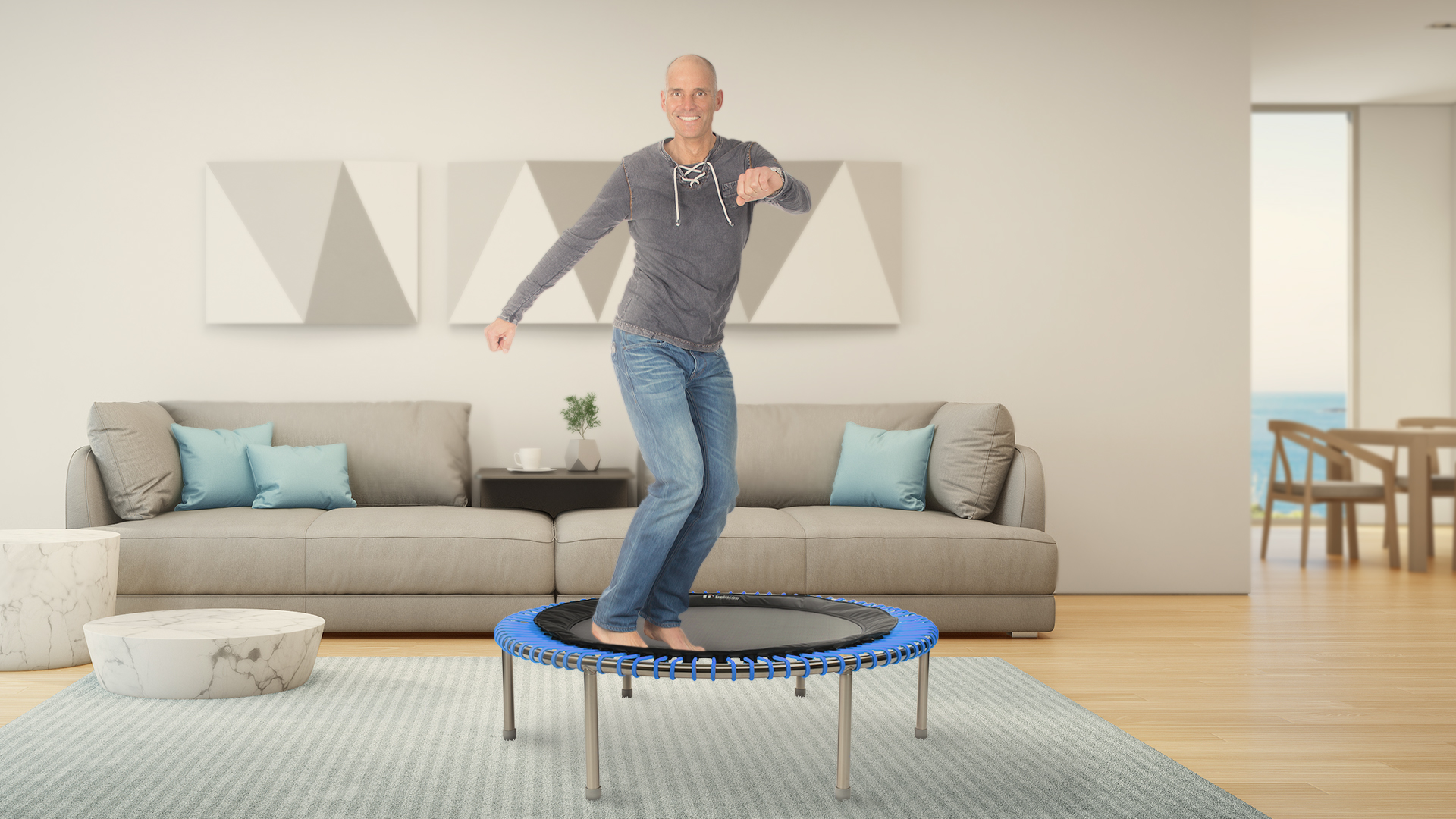Man keeping fit on a bellicon indoor trampoline