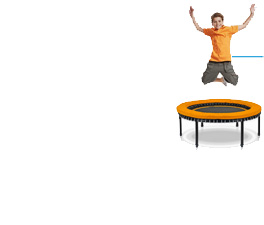 A picture of a child wildly jumping on a bellicon enhanced with a frame cushion