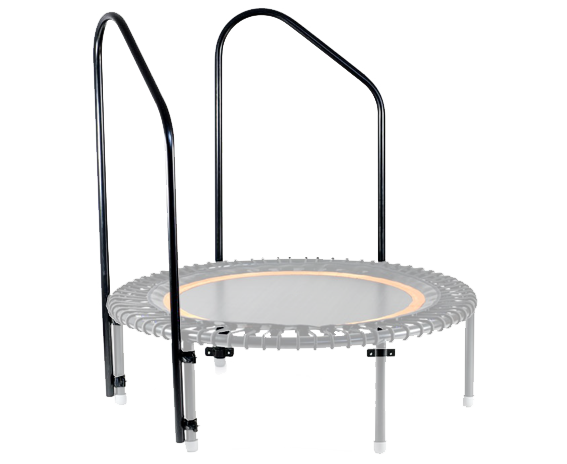 A picture of a bellicon® mini trampoline with two support hand bars mounted