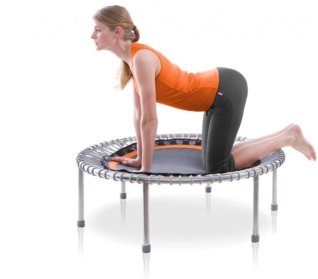 A woman doing back exercises on all fours on a bellicon® mini trampoline