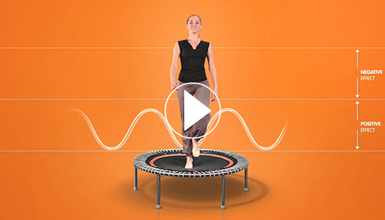 a woman exercising on a bellicon® premium trampoline, video play symbol.