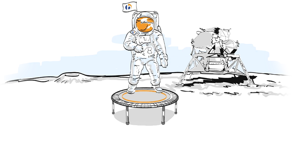 A graphic representation of an astronaut on the moon on a bellicon® mini trampoline
