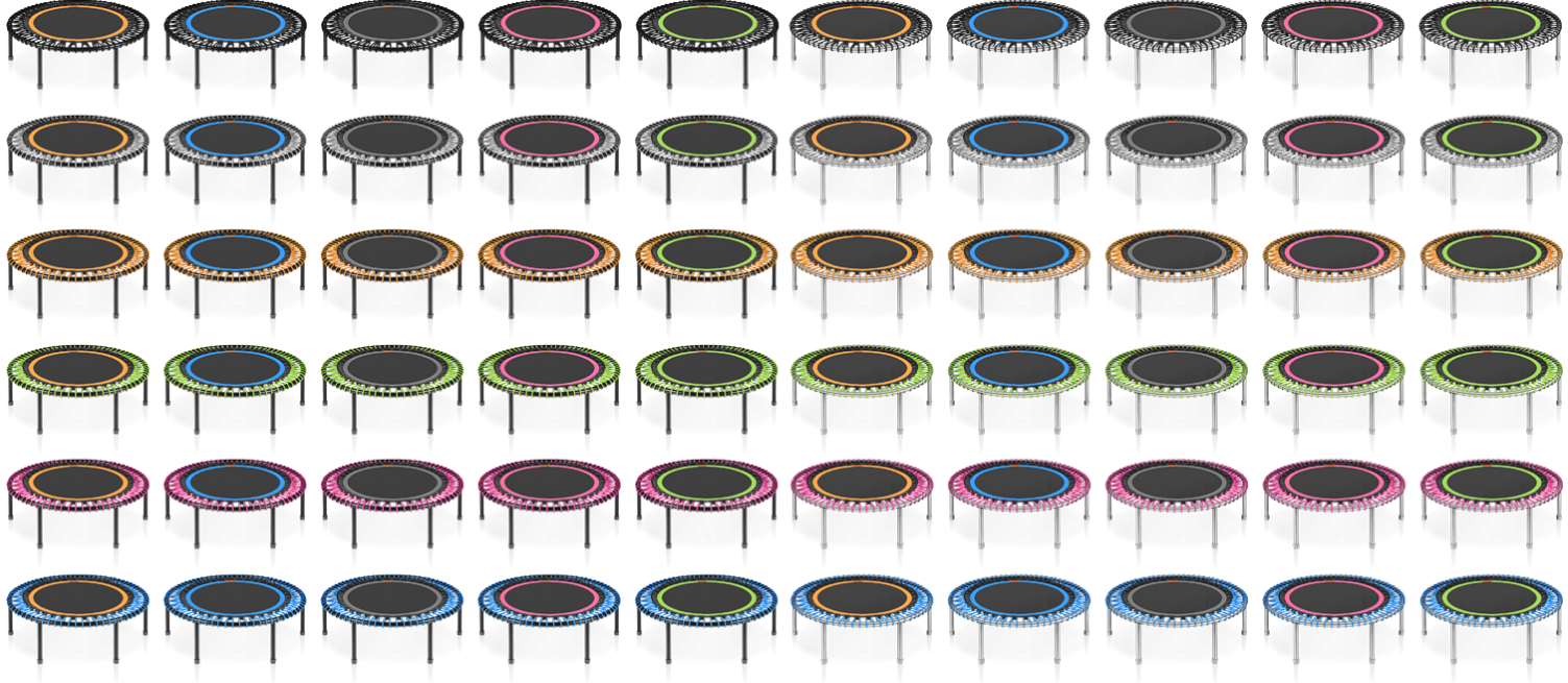A picture of 50 different colourful bellicon® trampolines