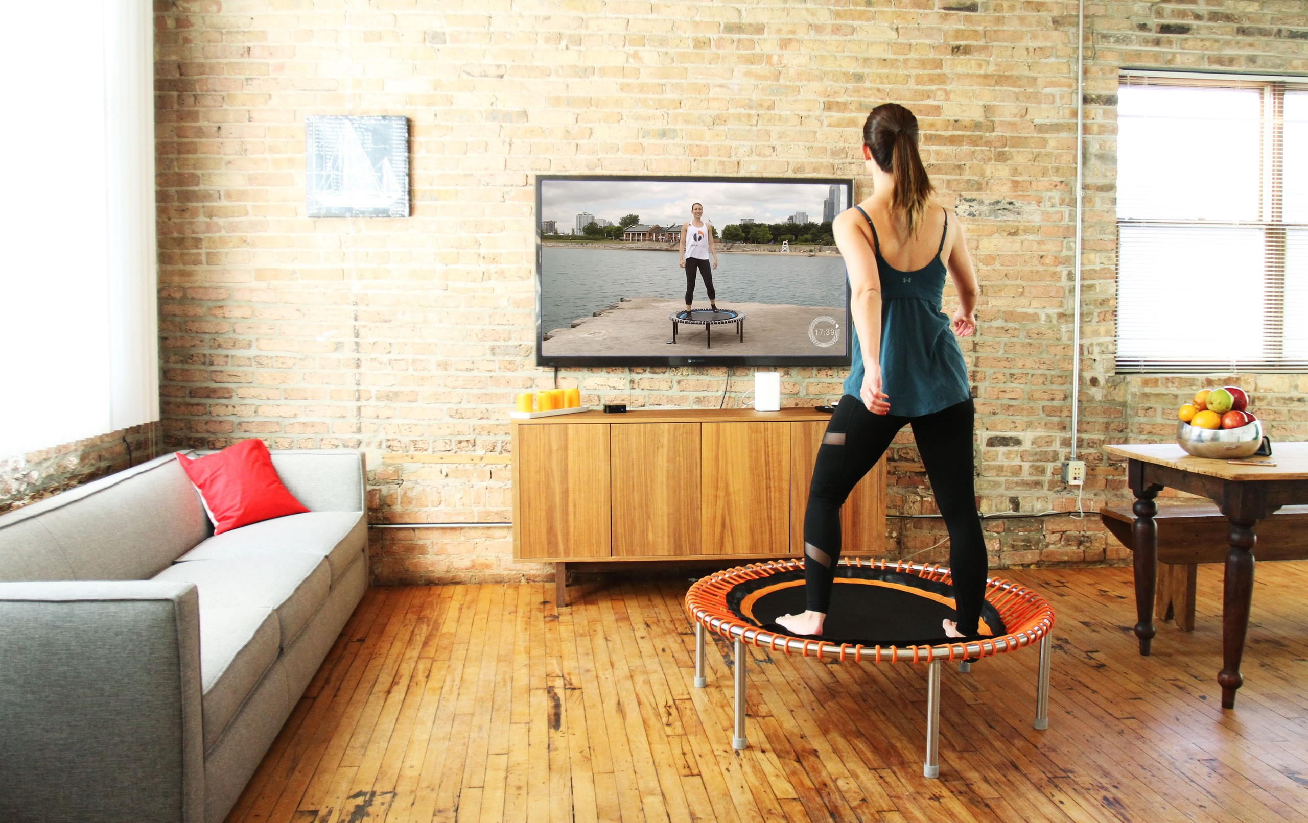 Running on a trampoline for exercise