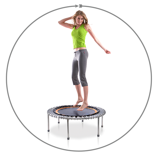 A woman bounding on a bellicon® inside a circle which represents the holistic benefits of exercising on a bellicon®