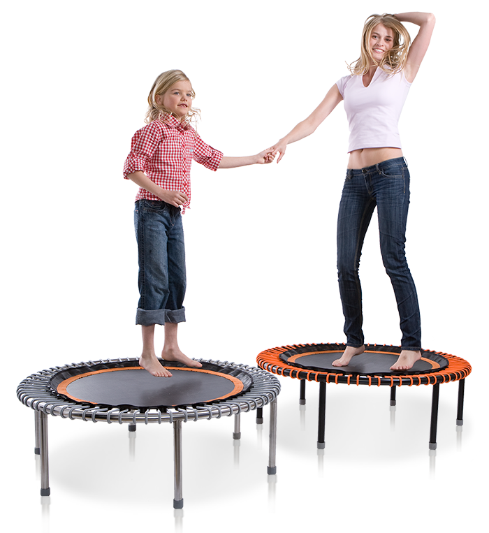 A mother and child simultaneously bounding on two bellicon® mini trampolines