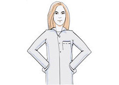A graphic representation of a female doctor dressed in a white coat
