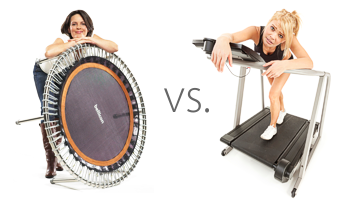 A smiling woman with a bellicon® mini-trampoline next to a tired woman on a treadmill