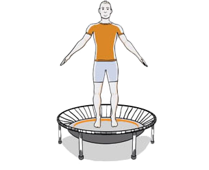 moderate workout on mini trampoline