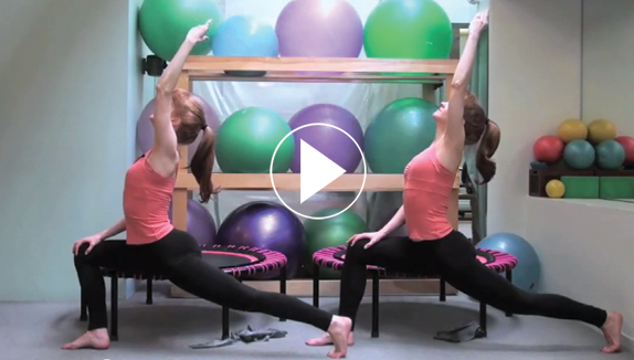 A twelve minute video of stretch exercises on the bellicon by Kim and Kathy from Pilates on Fifth in New York City