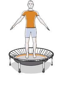 A graphic representation of a man exercising on a bellicon® mini trampoline