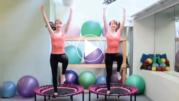 A ten minute advanced workout routine video clip by katherine and Kimberley Corp from New York, video play symbol