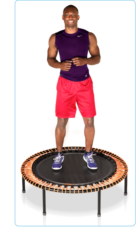 An athletic young man bounding on a bellicon® mini trampolin
