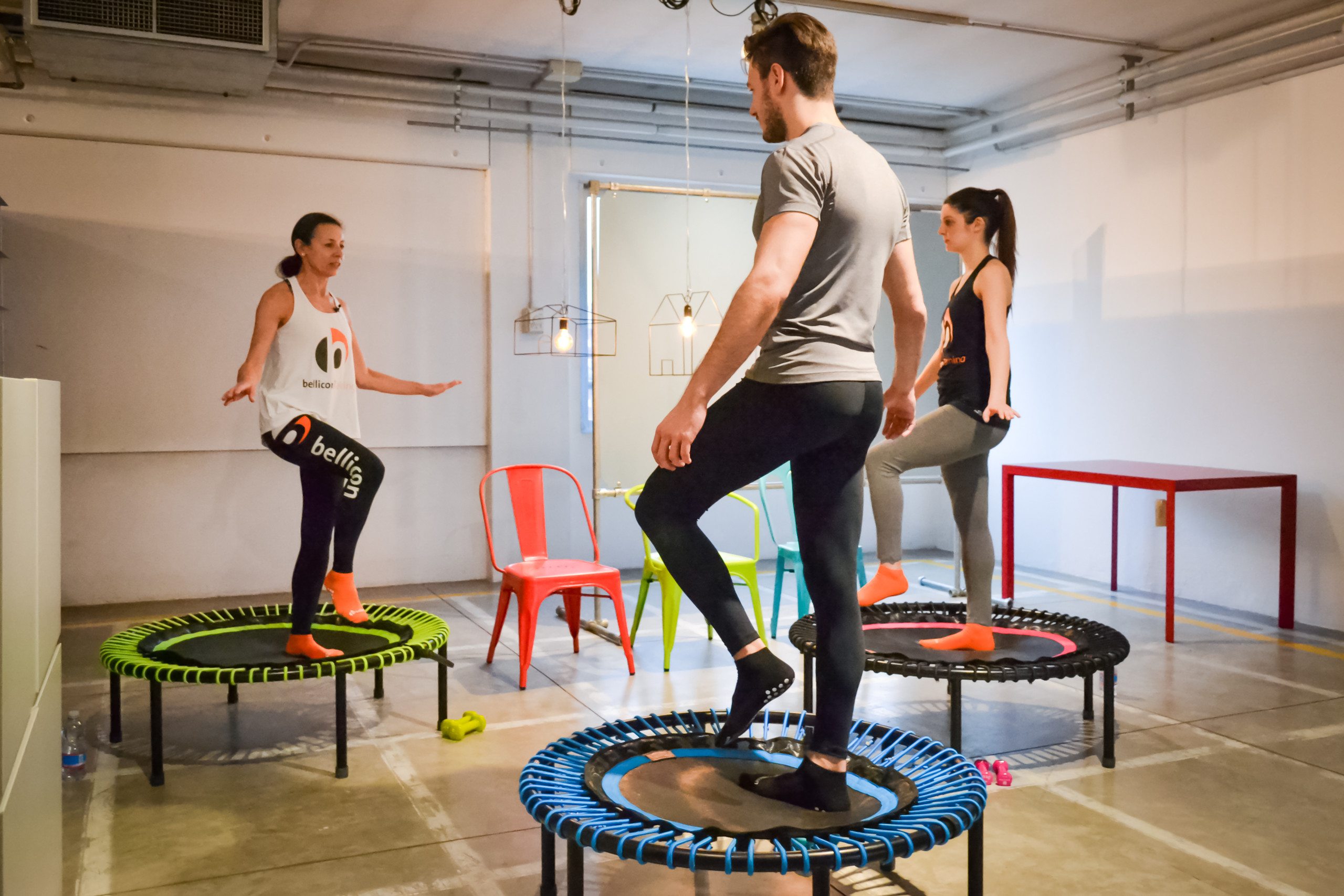 Group trampoline cardio workout class