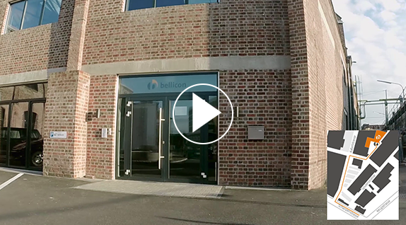 Preview image with playbutton of the directions video to the bellicon showroom at the Carlswerk in Cologne