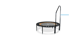 A picture of a support bar mounted on a bellicon® mini trampoline