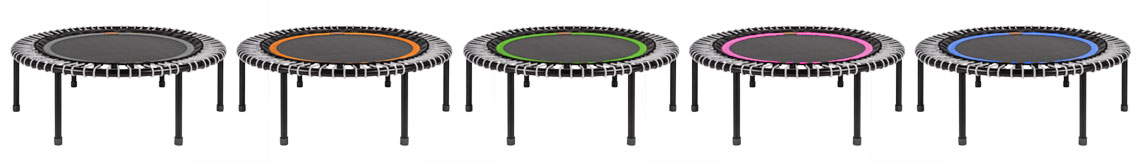 6 bellicon® rebounders with different colours of the mats and allways with grey bungees