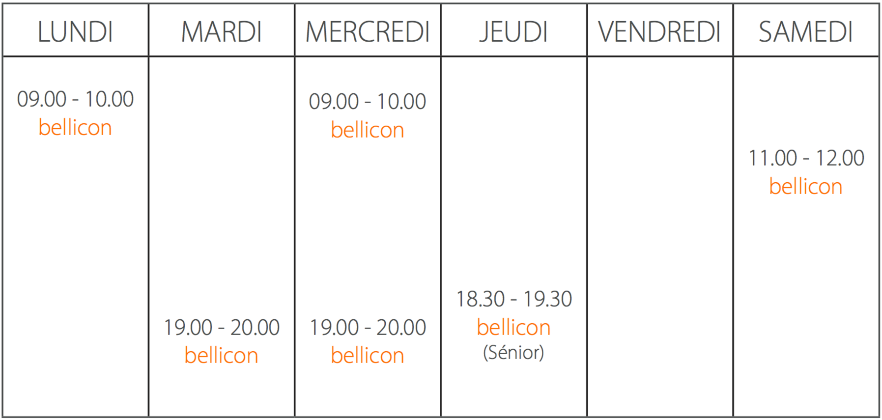 Horaire bellicon body fun