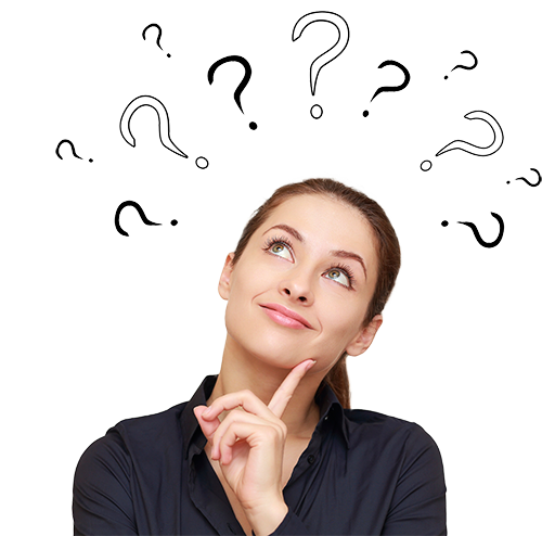 contemplative woman looks smiling up surrounded by question marks