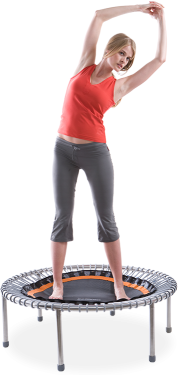 a woman flexing her upper body on a bellicon® mini trampoline