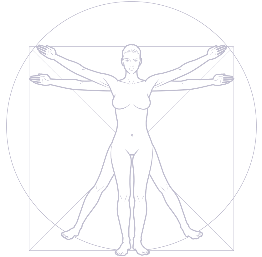 A graphic description of a woman in two star jump poses superimposed inside a circle